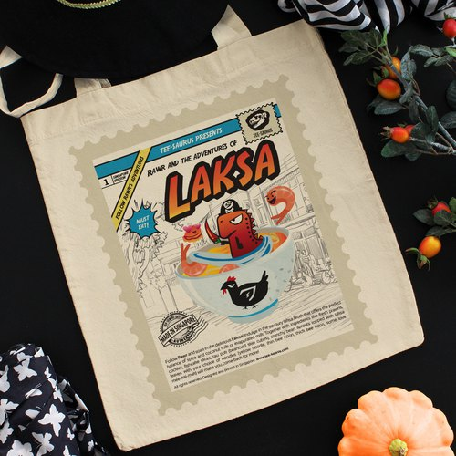 Tee-Saurus Happy Totes - Singapore Laksa Cotton Tote Bag