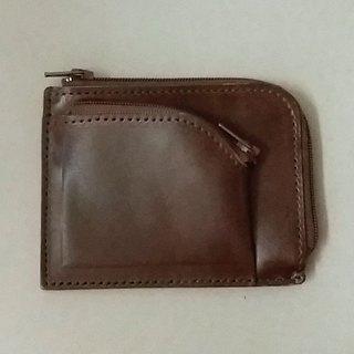 Sewn leather goods...............Double L-shaped small wallet
