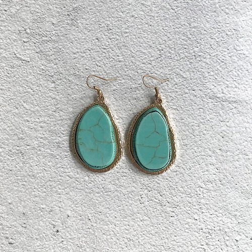 Imitation turquoise Phnom Penh antique ear needle earrings BFA001