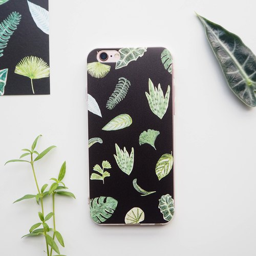 Tiger Pilan Turtle Leaf Fairy Green Plant Leaf Illustration Mobile Shell iPhonex Shell Customized Plants