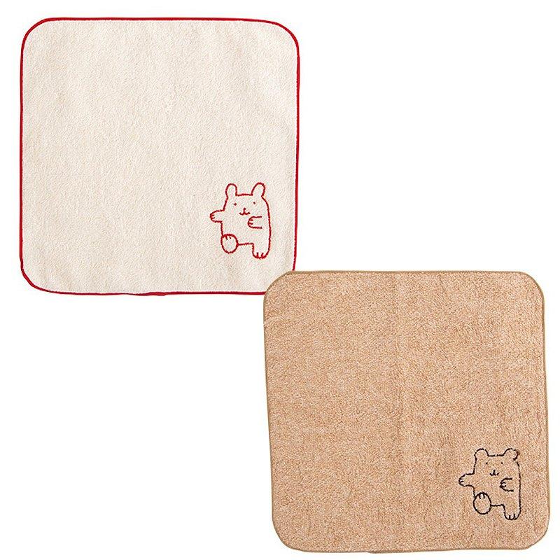 Y-1105 100% 有機棉迷你毛巾 兔子熊 跳繩刺繡日本製造