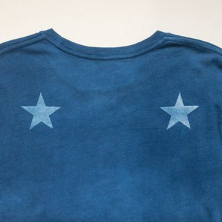Indigo dyed 藍染 organic cotton - BLUE STAR DARK TEE 星 Msize