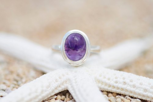 Silver ring size No. 10 of amethyst