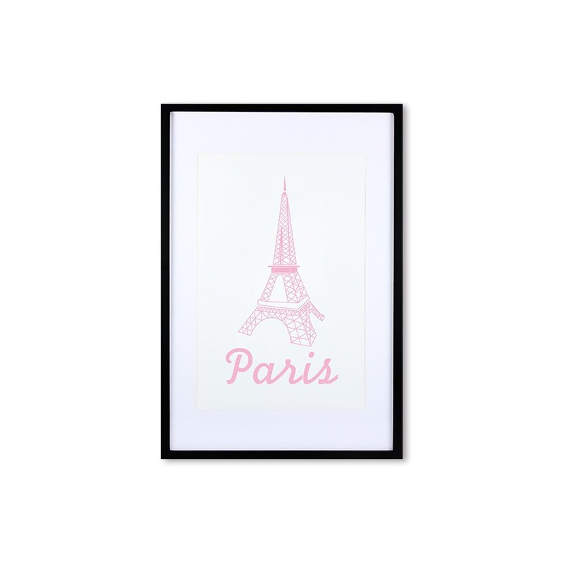 HomePlus Decorative Frame -  PINK Eiffel Tower - Black frame 63x43cm Homedecor