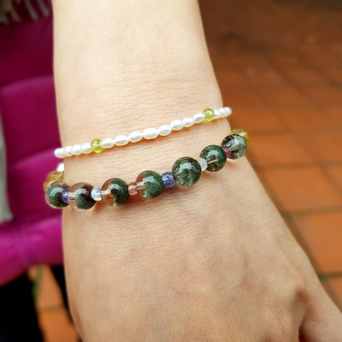 Girl Crystal World [NATURE] - Green Ghost double chain bracelet natural crystal gemstone bracelet made