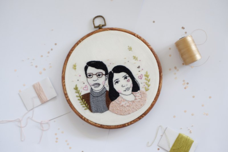 CUSTOM Portrait Embroidery Illustration - Face Illustration - wall hanging