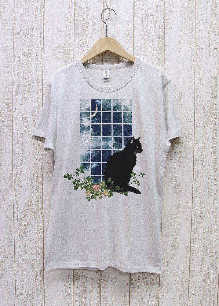 Standing black cat window side MOON (Heather white) / RPT 036 - HWH