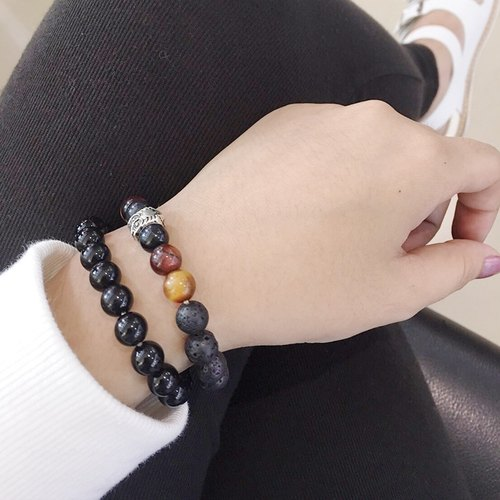 Owl ◆ black- natural ore / volcanic / tri-color Tiger Eye / silver owl / bracelet bracelet gift custom designs