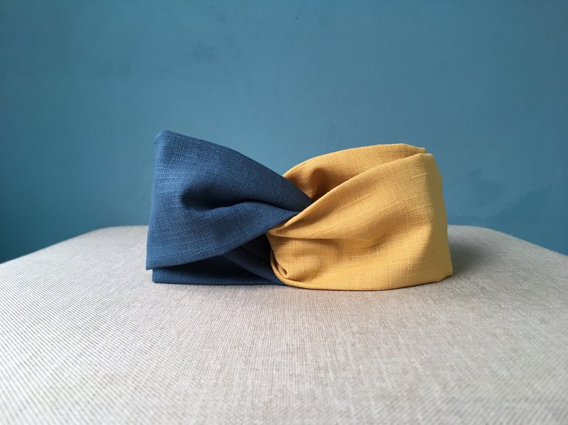 Classic hair band / blue gold blue gold / contrast color