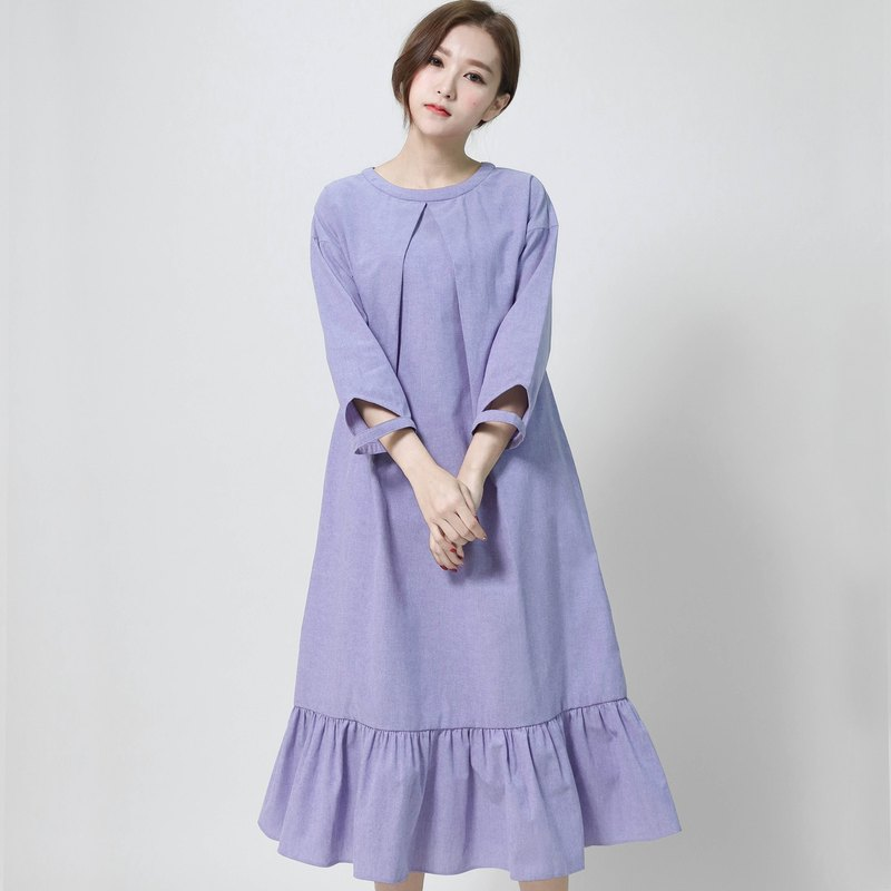 Independent Independence fishtail structure dress _6AF102_蓝紫