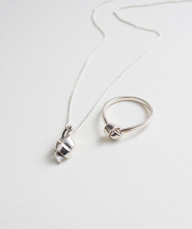 Happy knot necklace ring series combination hand made sterling silver 925silver