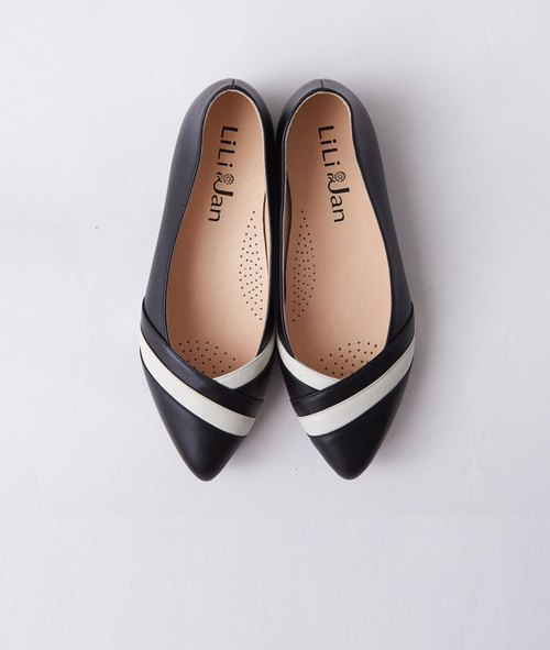 [Small step] V-neck staggered hit color pointed ladies shoes _ elegant Hepburn