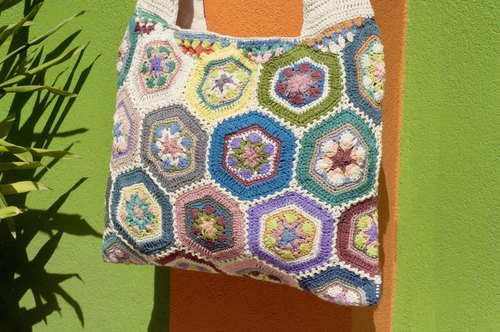 Handmade crochet side backpack shoulder bag Tote bag Messenger Bag - French Flower Forest