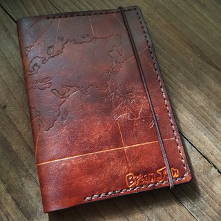 Custom chart dark brown retro pure leather passport holder (made lover, birthday gift)