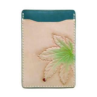 Marie / Mary genuine leather leather pass case / leaf / periodic putter / hand dyed / carving