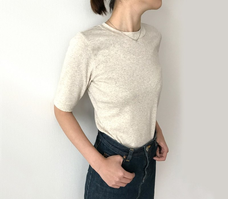 Made in Japan Organic cotton 4-quarter sleeve T-shirt stuck to shape IVORY