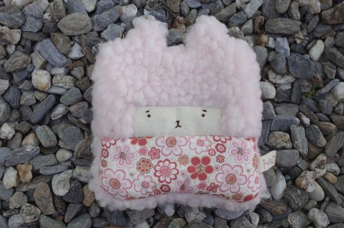 Duo rabbit rabbit coin purse - pink hair color -082 pink powder round flowers