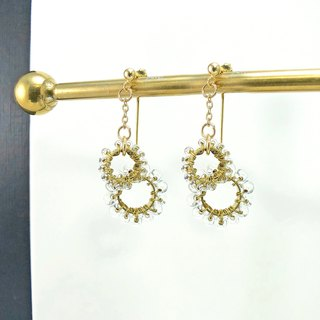 ART COLE - Bohemian 14kgf earrings brass Japan imported beads gold double ring changeable