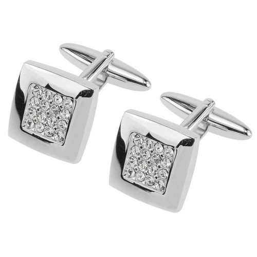 Pave Swarovski Crystals Soft Square Cufflinks