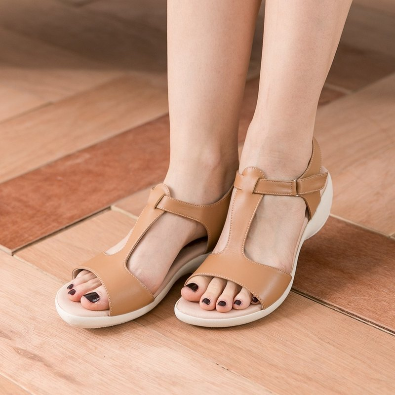 Maffeo sandals are thin T-shaped arc wedge leather sandals (6862 milk tea brown)