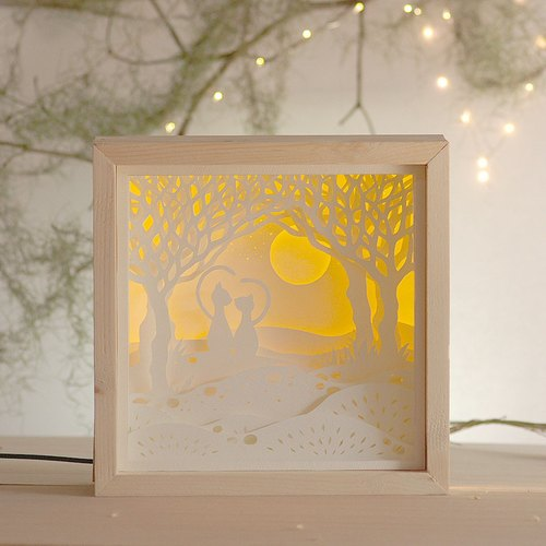DIY gift paper carving lights - love cat (birthday. Valentine's Day. Creative lights)