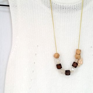 Amusing Beige Brown Beaded Long Chain Necklace
