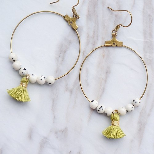 Uros Floating Island Tassel Earrings Green (Travel / Brass / Limited Hand / Birthday Gift)