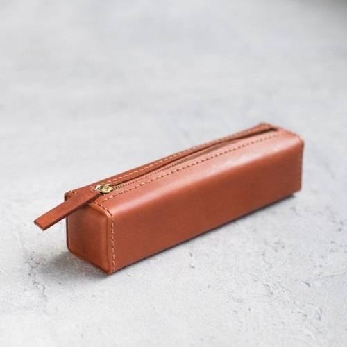 Light brown classy square veg-tanned leather pencil case/pen pouch