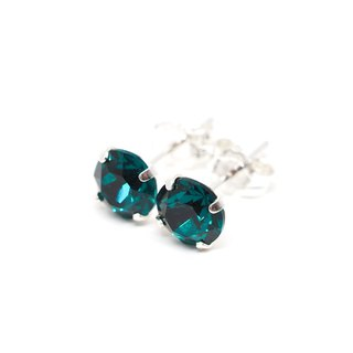 Emerald Green Swarovski Crystal Earrings, Sterling Silver, 6mm Round