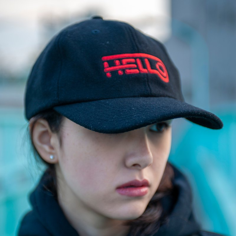 HELLO WOOL BB CAP # BLACK