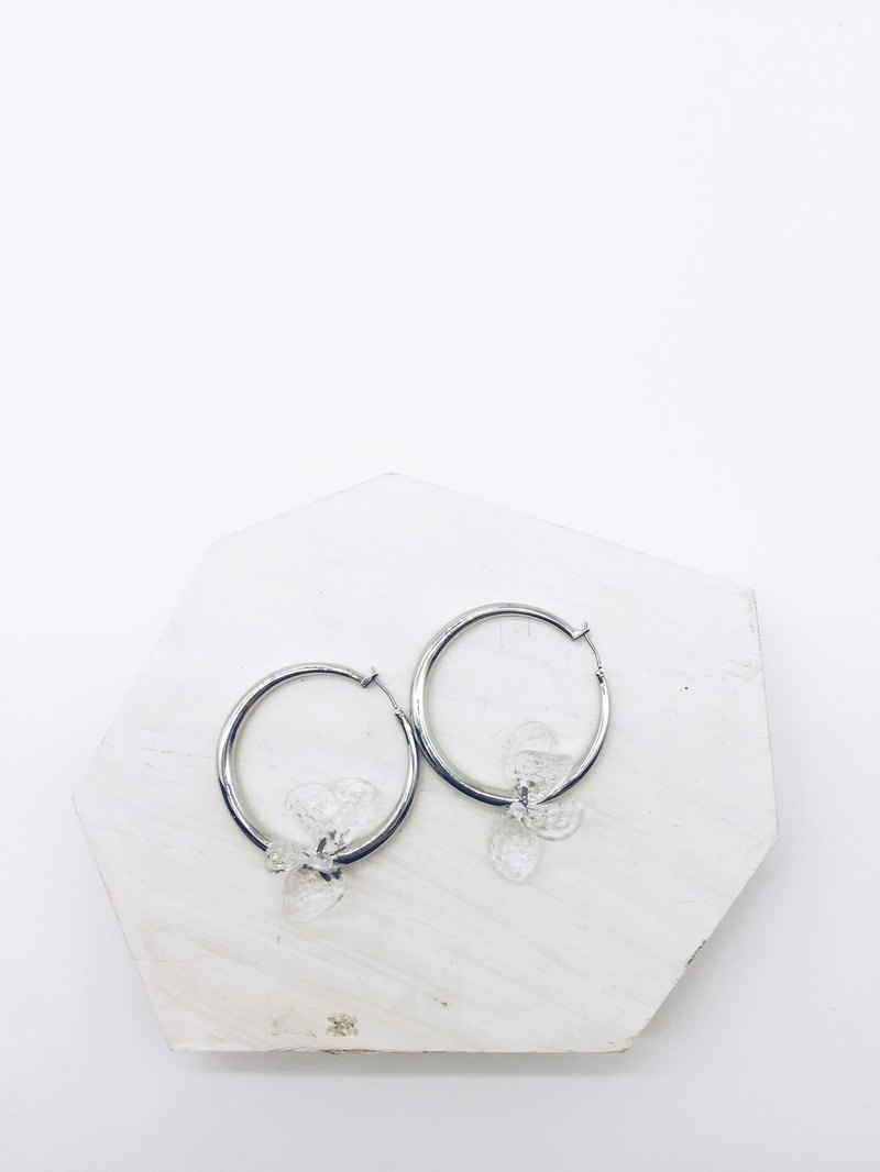 90 DEGREES SERIES - Sterling Silver Round Flower Earrings