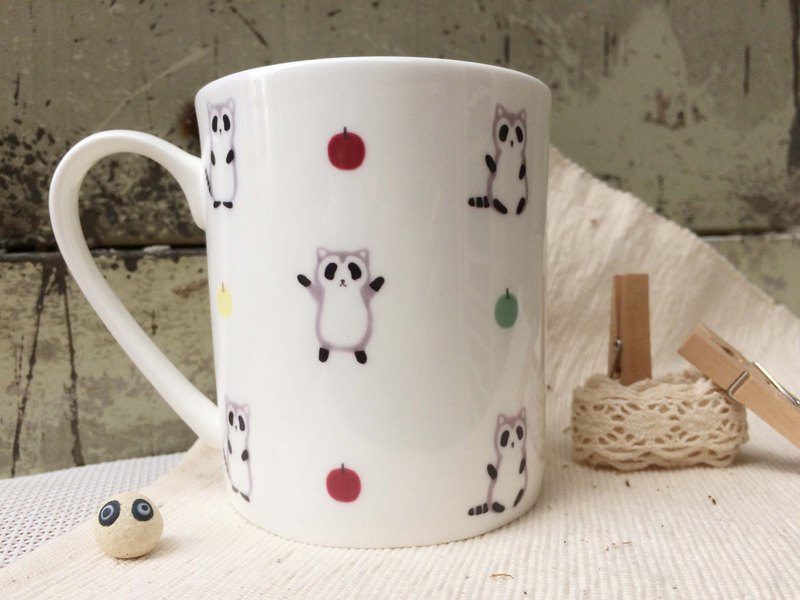 Buy 2 Get 1 Free Bone Porcelain Mug-Dancing Little Raccoon