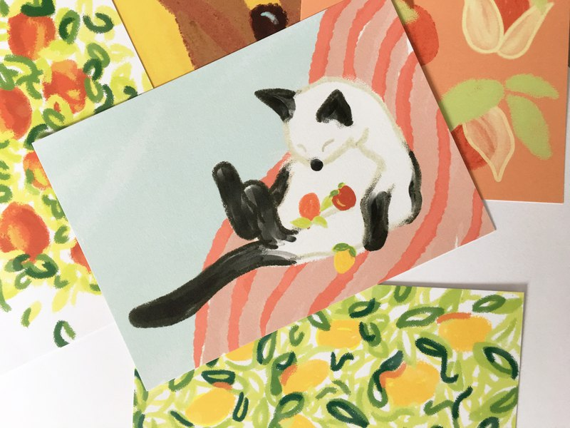 In the backyard Postcard 05 – Cat and fruit friends