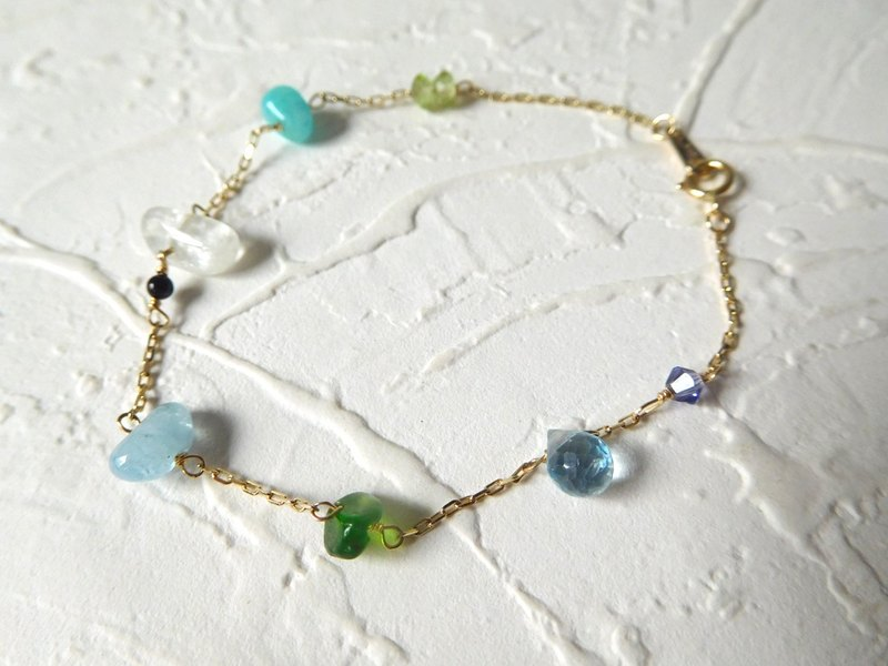 Pure 14K gold colorful natural semi-precious stones bracelet