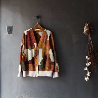 Wakayama color block grid youth love log antique hemp open card blouse jacket oversize