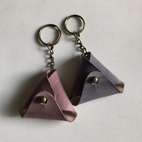 2 into the group _ triangular change key ring _ raspberry + gray blue