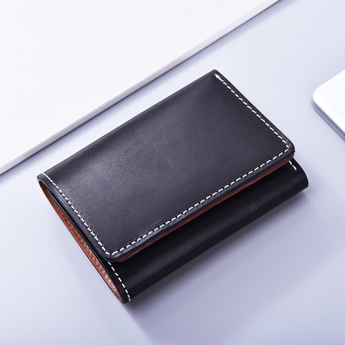 3 pieces of black leather clip / wallet / wallet