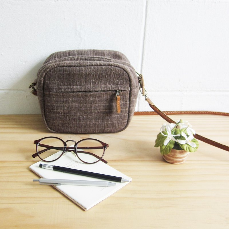 Crossbody Bags Little Tan Mini Bags Botanical Dyed Cotton Brown Color