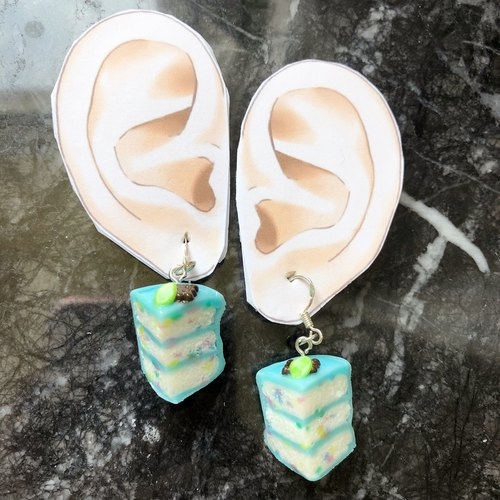 Japanese resin clay cake Smile earrings