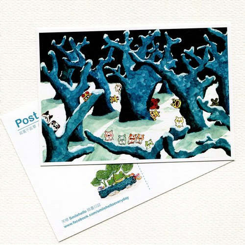 Silent / Laughing Smilehello Illustration Log Postcard
