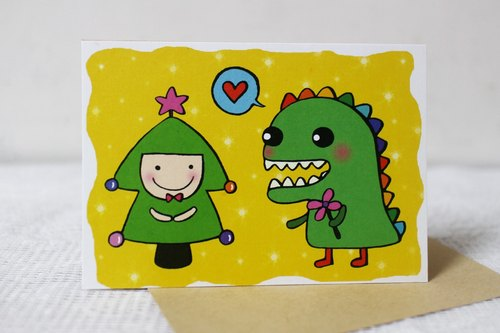 Illustration big card_Card Christmas card / New Year card (dinosaurs and trees)