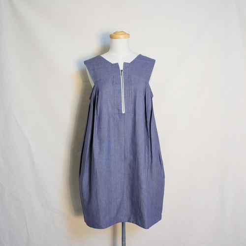 Cotton Linen Zip Front Sleeveless Dress