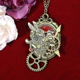Magic Bunny Clock Necklace _Steampunk