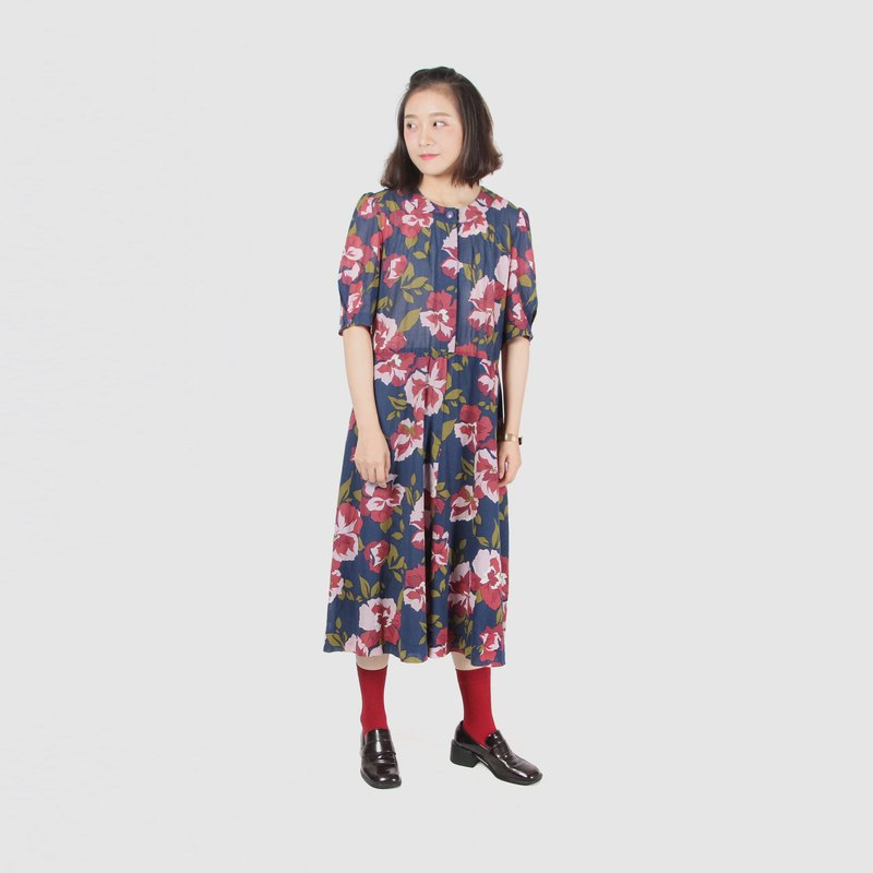 [Egg plant ancient] blue sky hibiscus cotton printed short-sleeved vintage dress