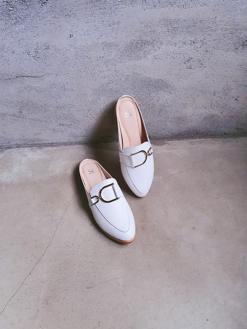 [French D buckle] Pointed D buckle Muller shoes_Elegant White|Handmade Custom | MIT Large Size