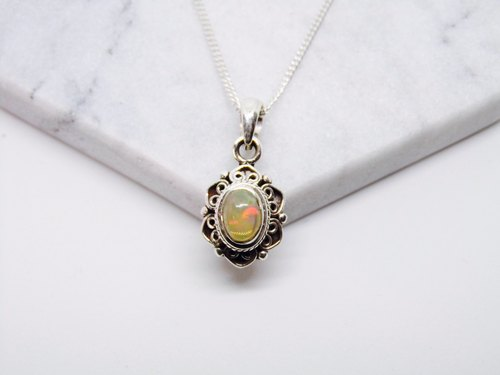 Opal Opal 925 sterling silver necklace, Nepal handmade inlaid lace making birthday gift Valentine's gift