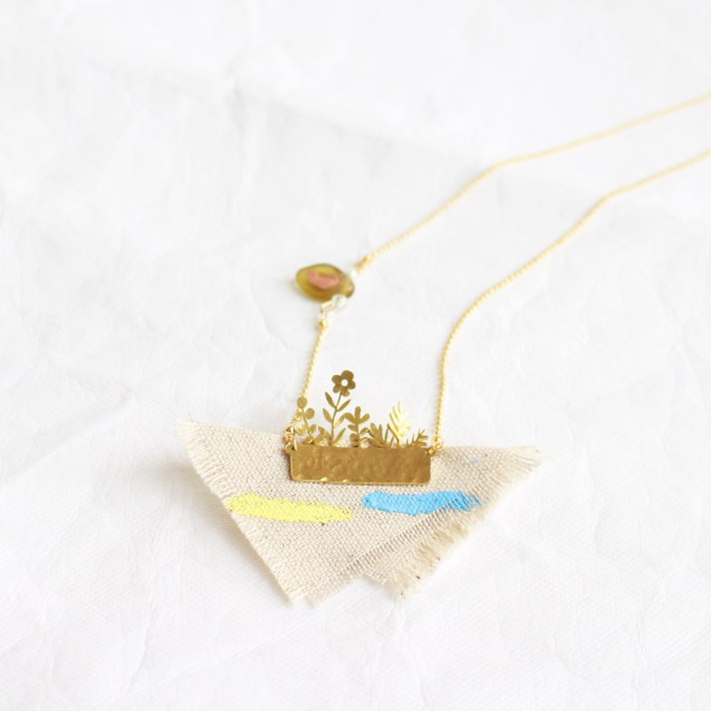 Potted Plant, Flowers hammered brass handmade necklace II Story_waiting for you