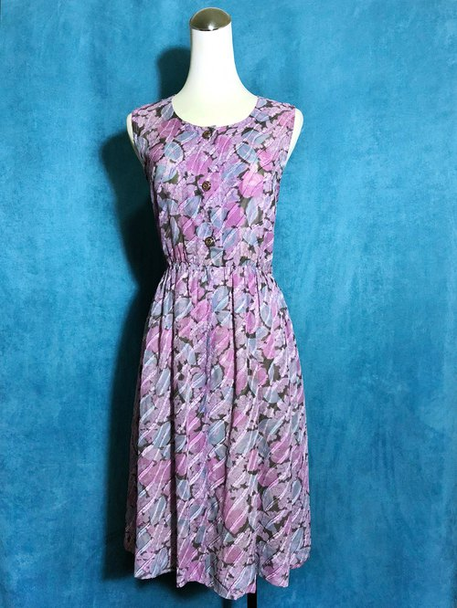 Flower textured sleeveless vintage dress / Bring back VINTAGE abroad
