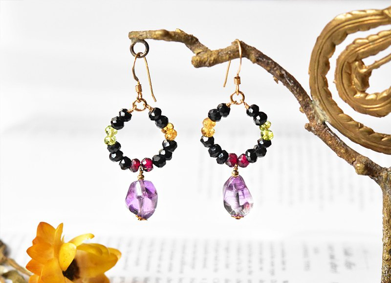 Natural Amethyst 14kgf Ruyi Earrings