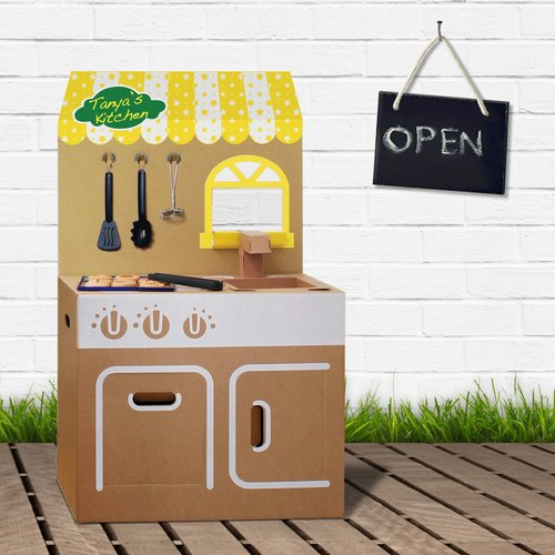 [SiMPLE FUN] Mini Kitchen (with shop plate stickers) Play House Wine DIY Parenting Creative Gifts Environmental Toys